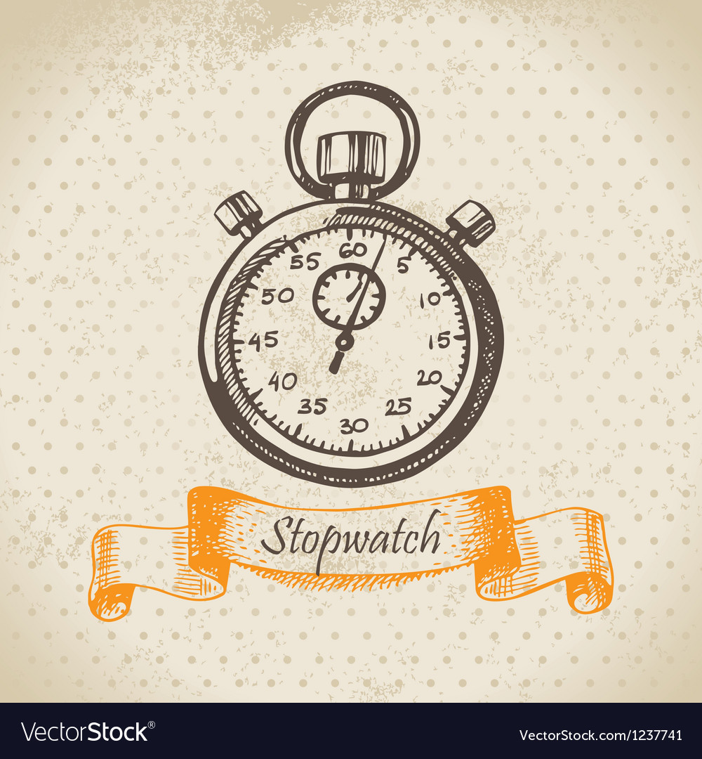Stopwatch hand drawn vector