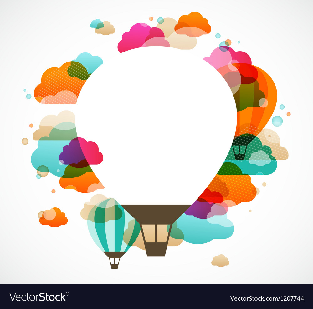 Hot air balloon colorful abstract background vector