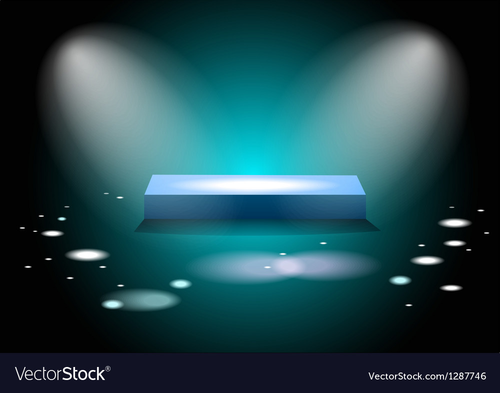 Glowing square podium vector