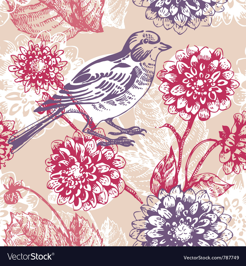 Floral seamless pattern with bird vector