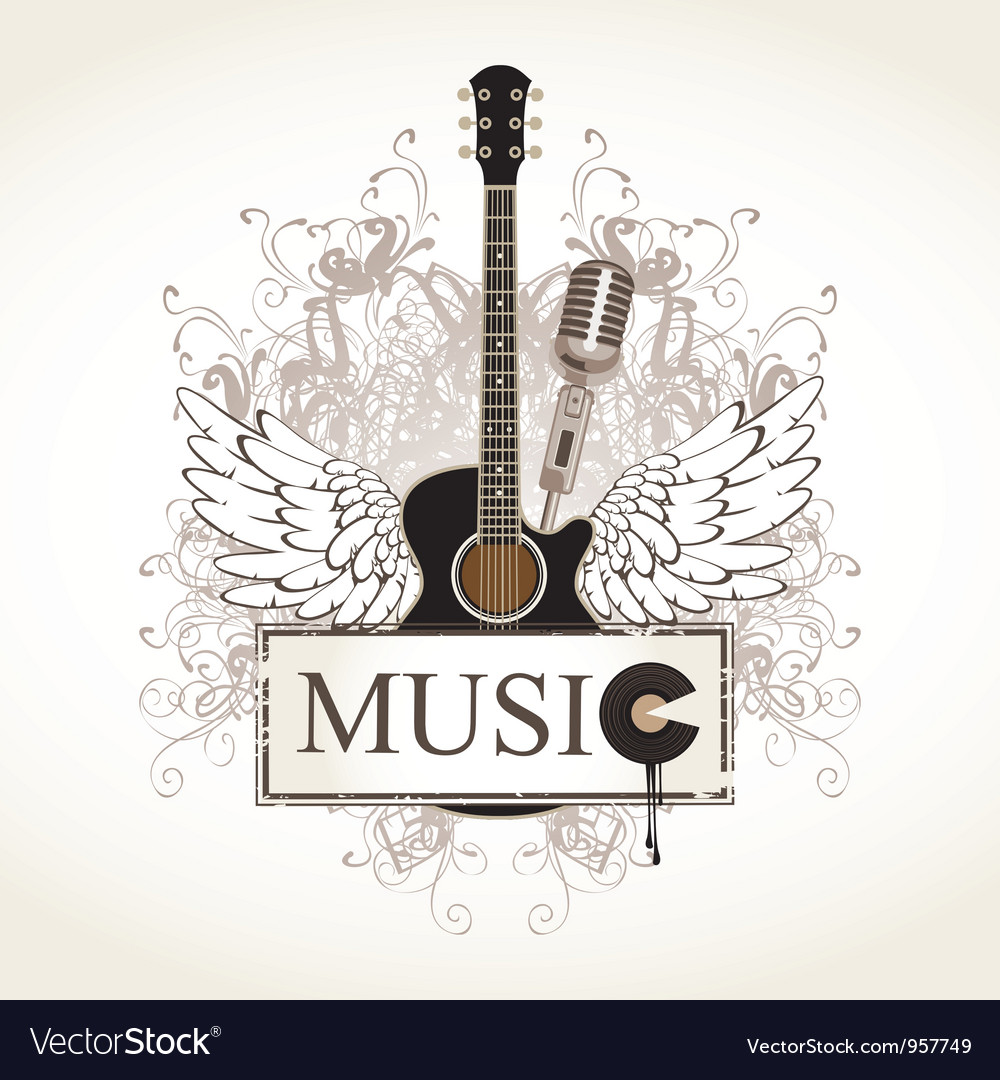 Wings with guitar vector