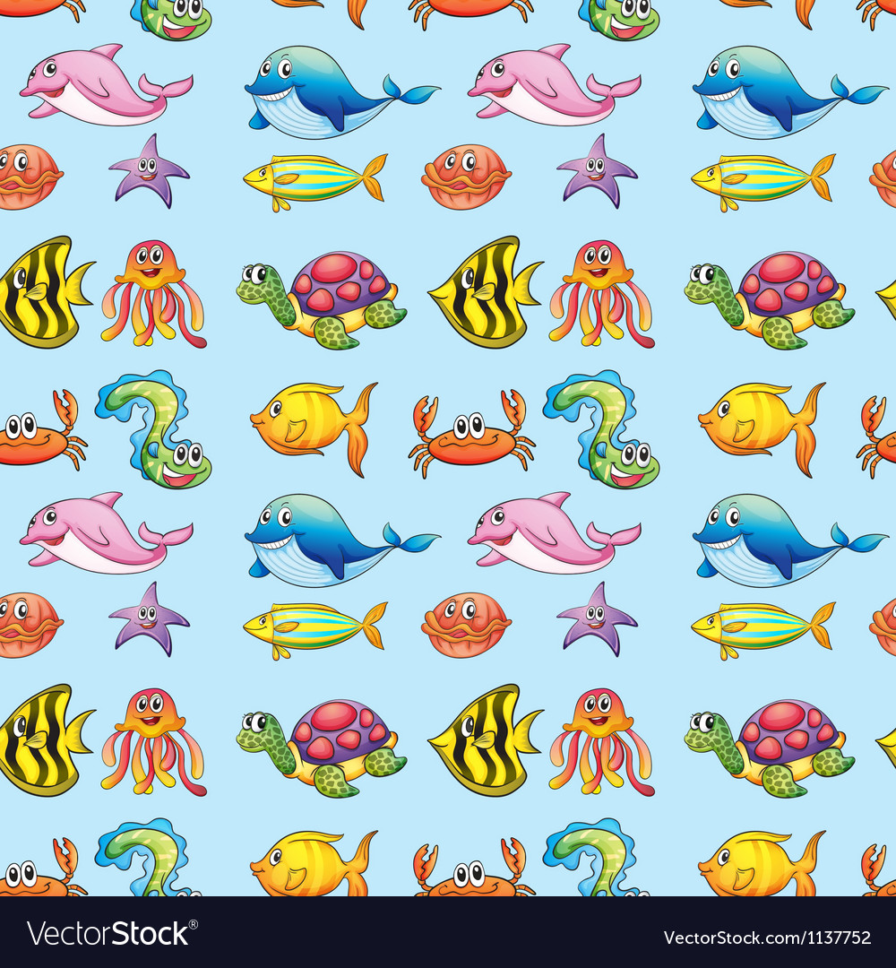 Various sea animals vector