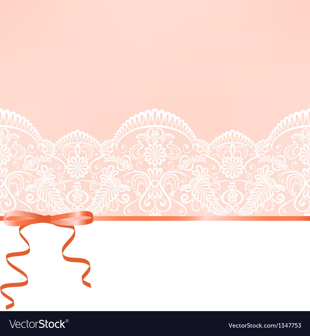 Lace background and ribbon vector