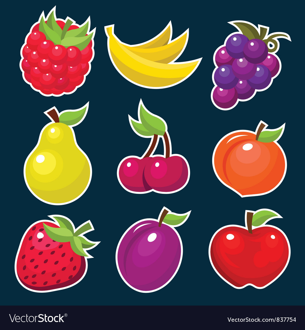 Colorful yummy fruit icons vector