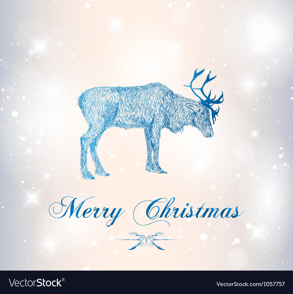 Reindeer with snowflakes vector