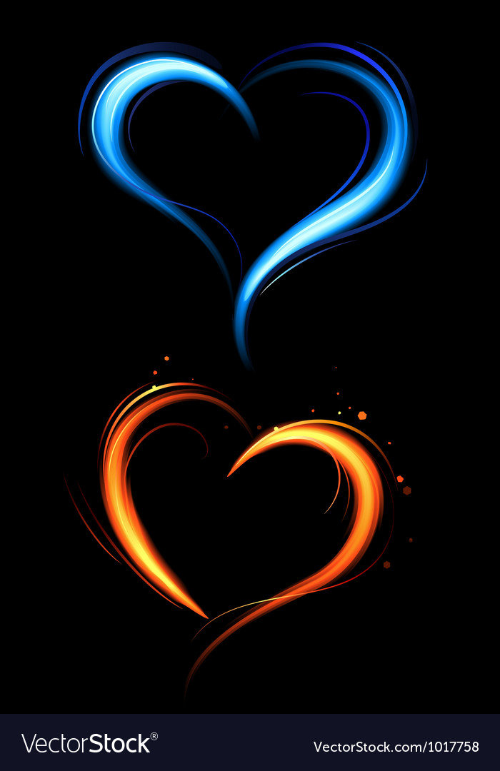 Heart from red and blue fire vector