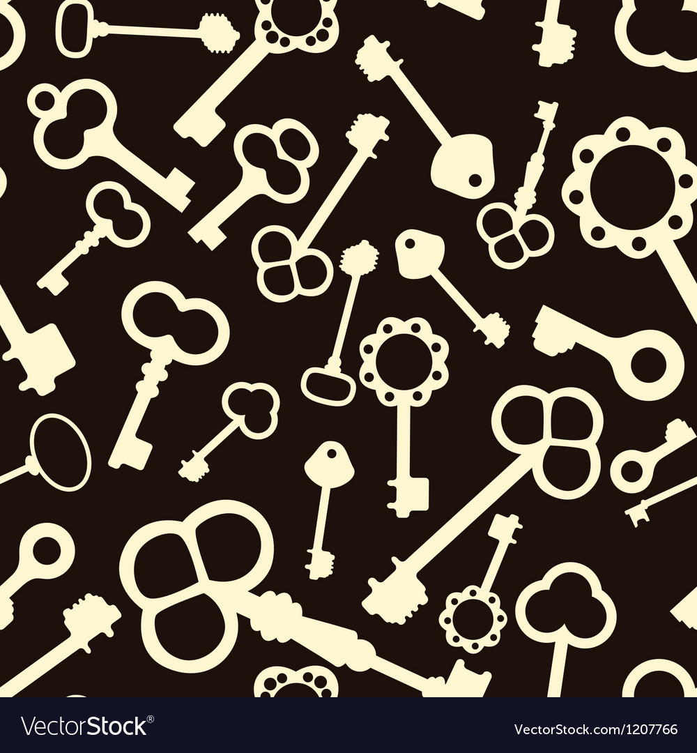 Seamless pattern with antique keys vector