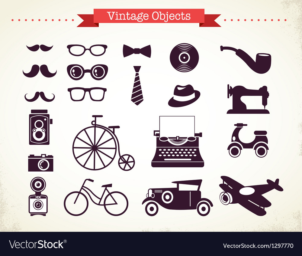 Vintage hipster objects collection vector