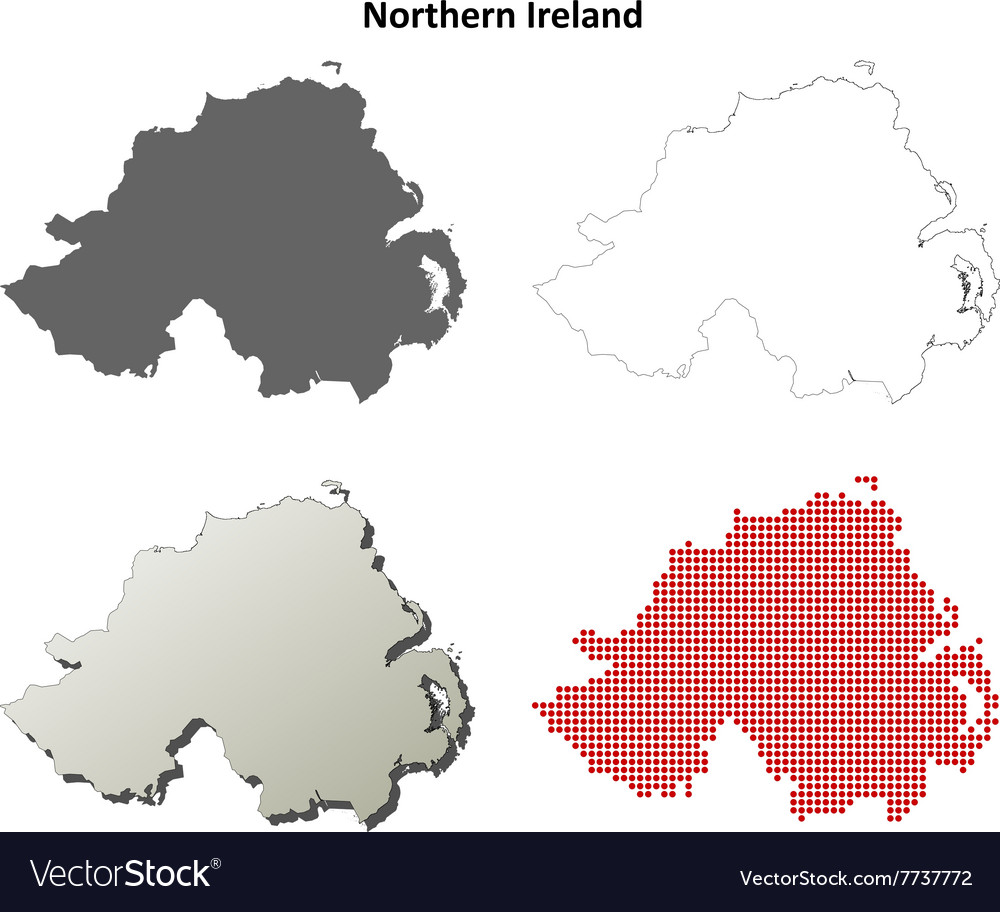 Northern ireland outline map set