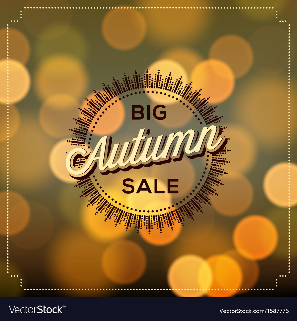 Autumn sale poster bokeh background vector