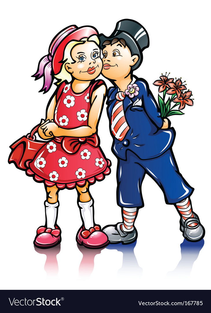 Couple of small kissing children vector