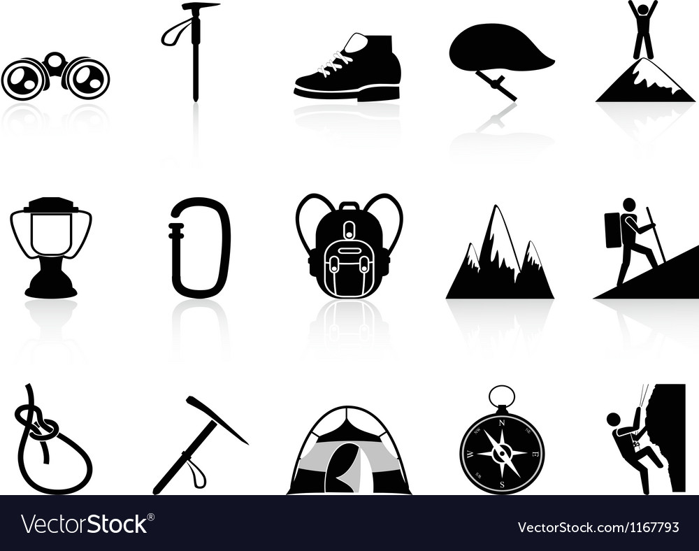 Climbing mountain icons set vector
