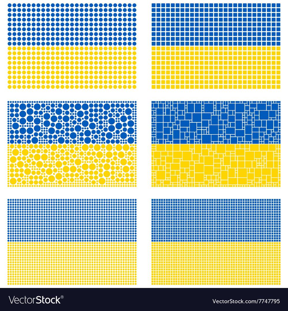 Mosaic ukraine flag set