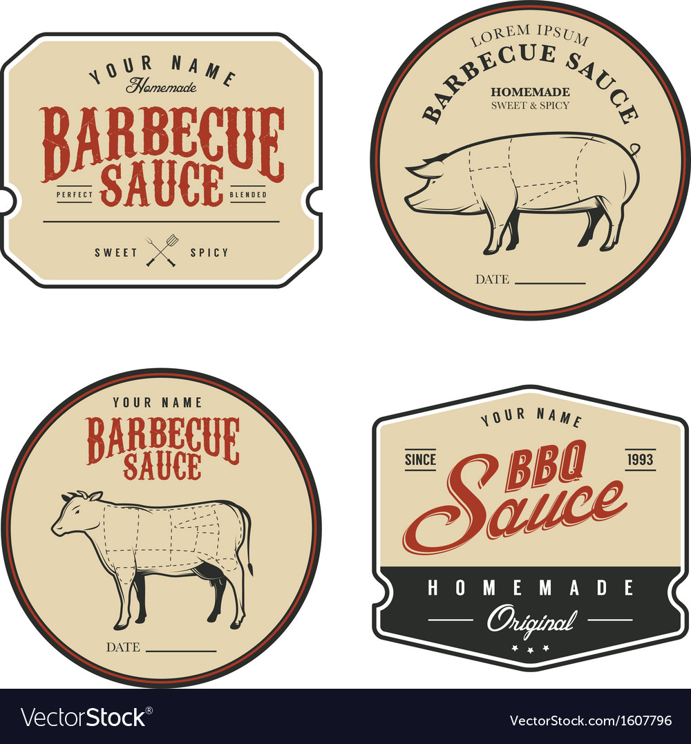 Set of vintage homemade barbecue sauce labels vector