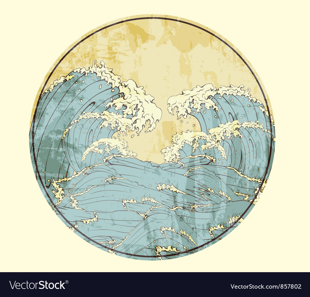 Free japanese frame with waves vector