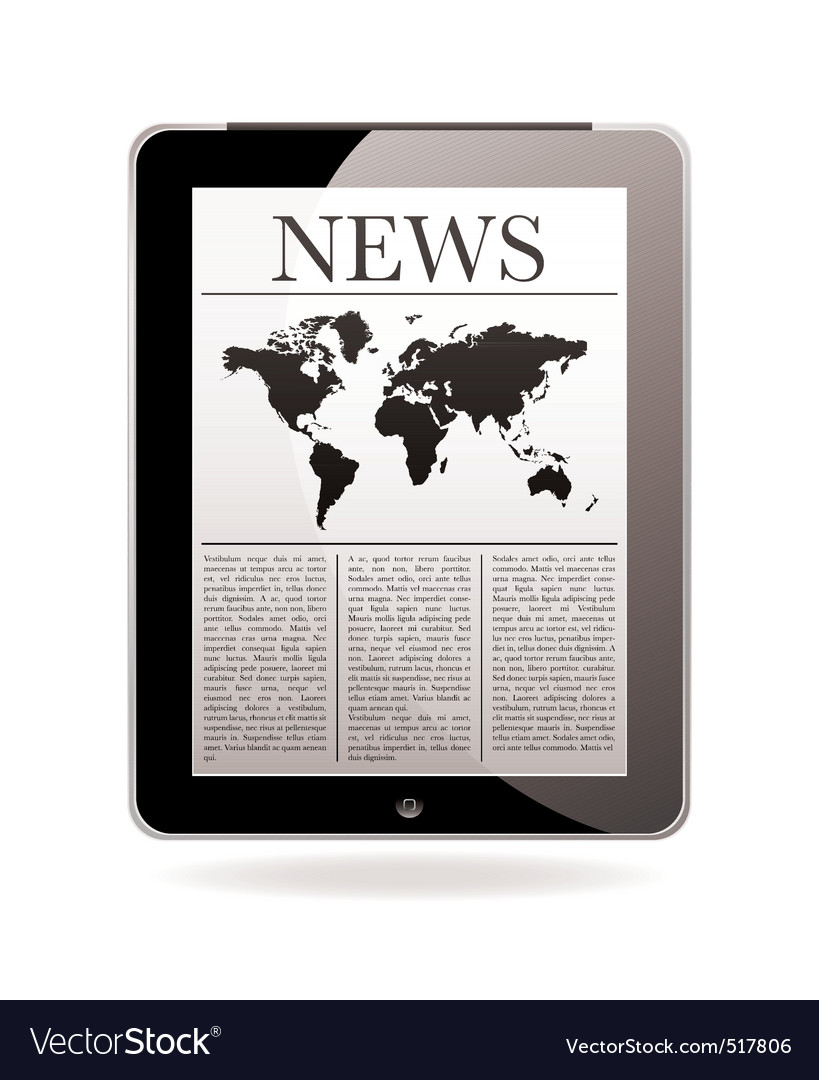 News tablet vector