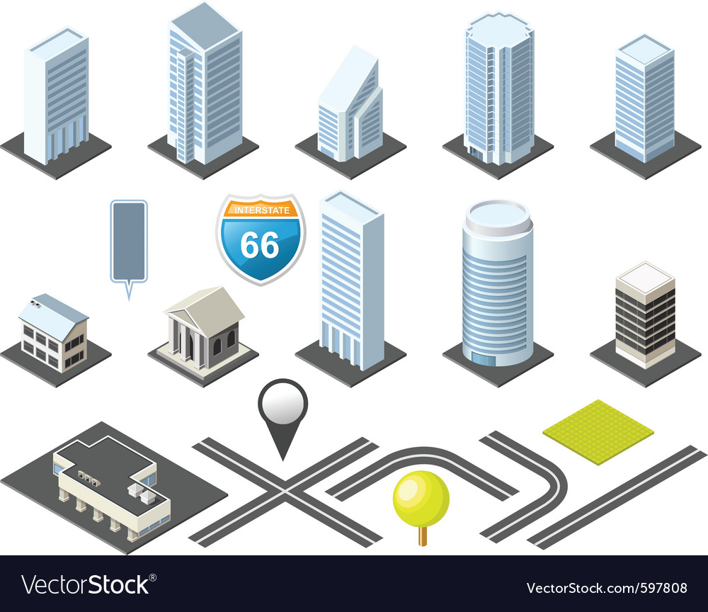 Isometric map vector