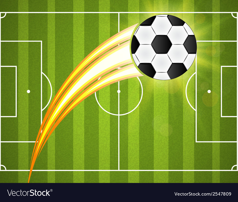 Soccer ball on green background poster design with