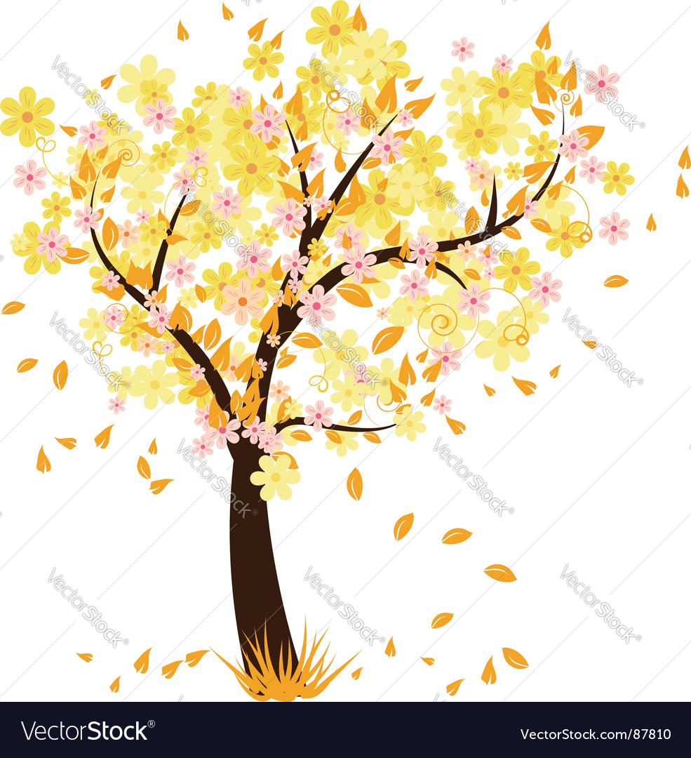 Autumn tree with falling leaves vector