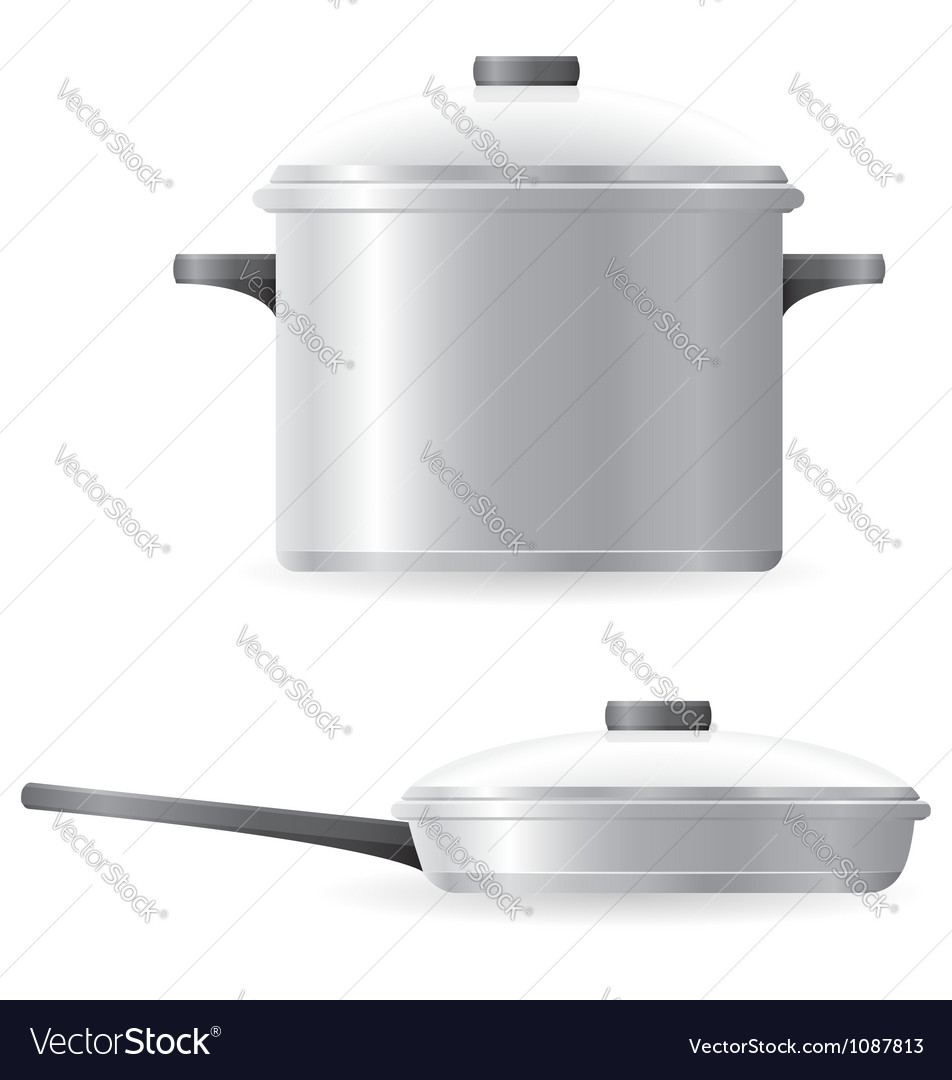 Pots and pans tableware vector