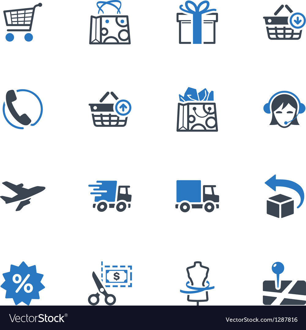 Shopping and ecommerce icons set 1  blue series vector
