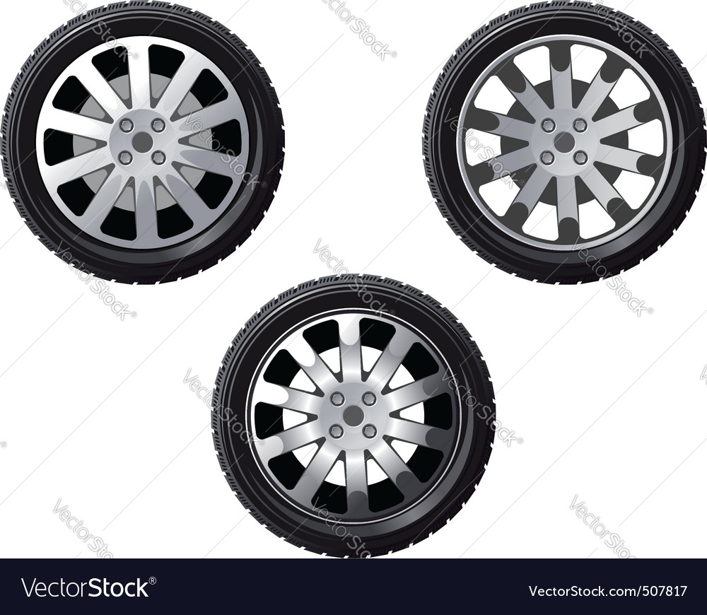 Set of isolated wheels vector
