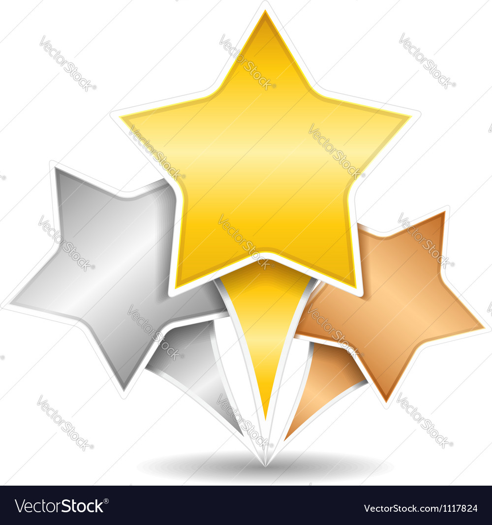Golden silver and bronze stars vector