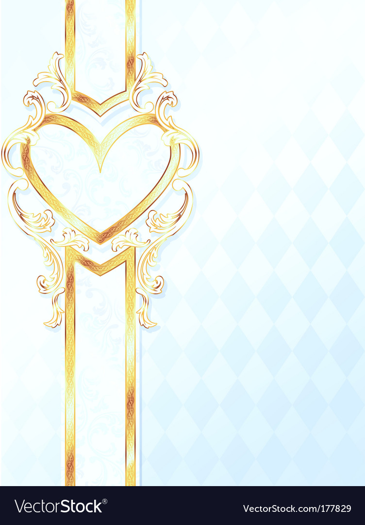 Gold heart emblem vector