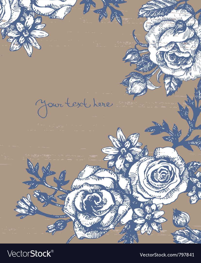Floral background with roses vector