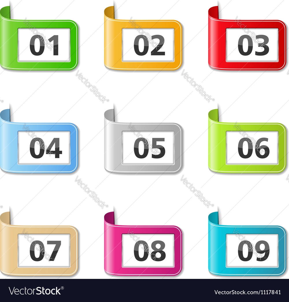 Ribbons with numbers vector