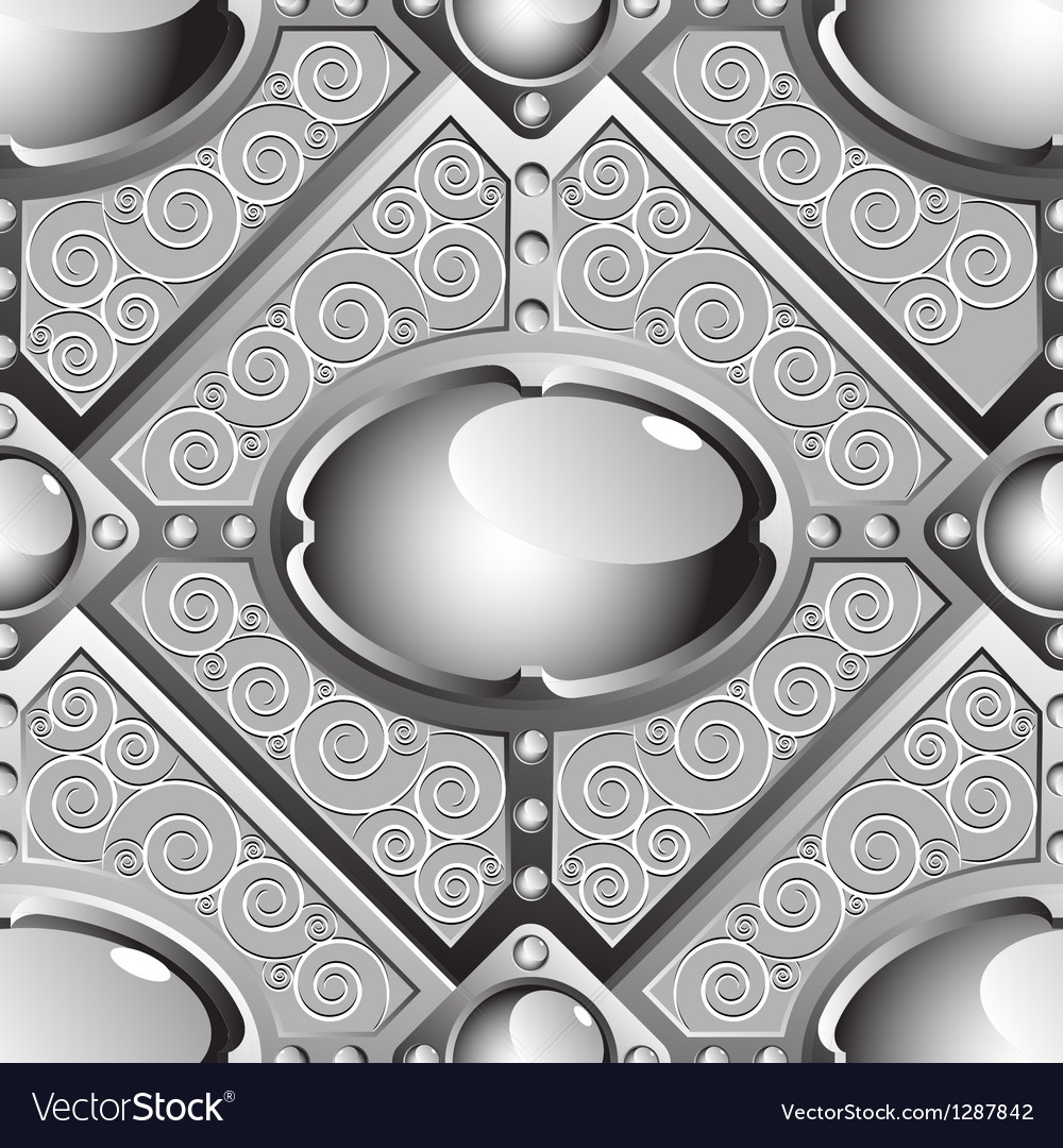 Silver emboss bar with grey glossy gems vector