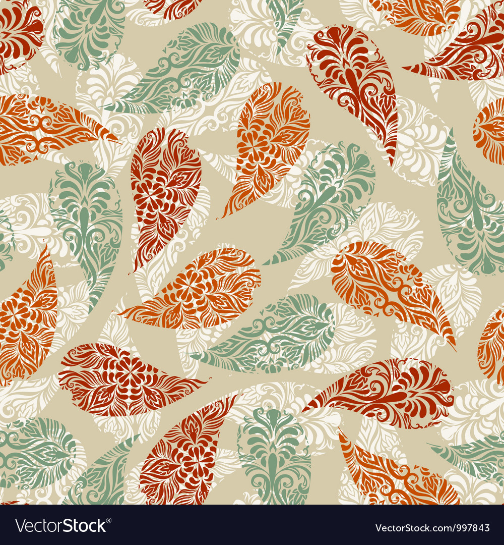 Paisley vintage seamless floral pattern vector