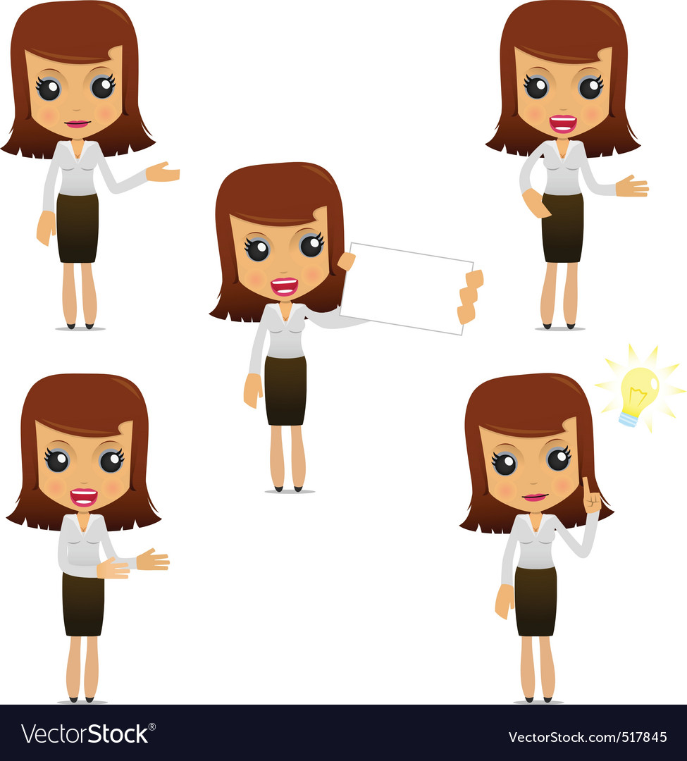 Set of funny cartoon businesswoman vector