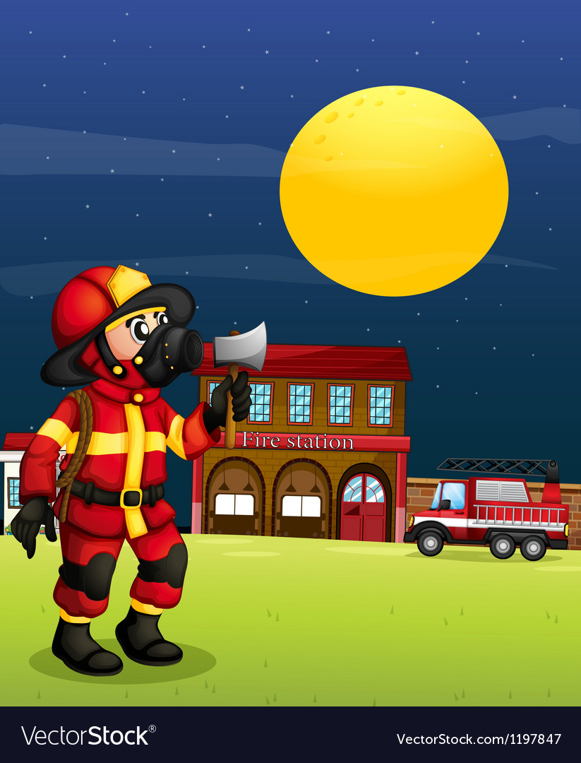A fireman in the middle of the night vector