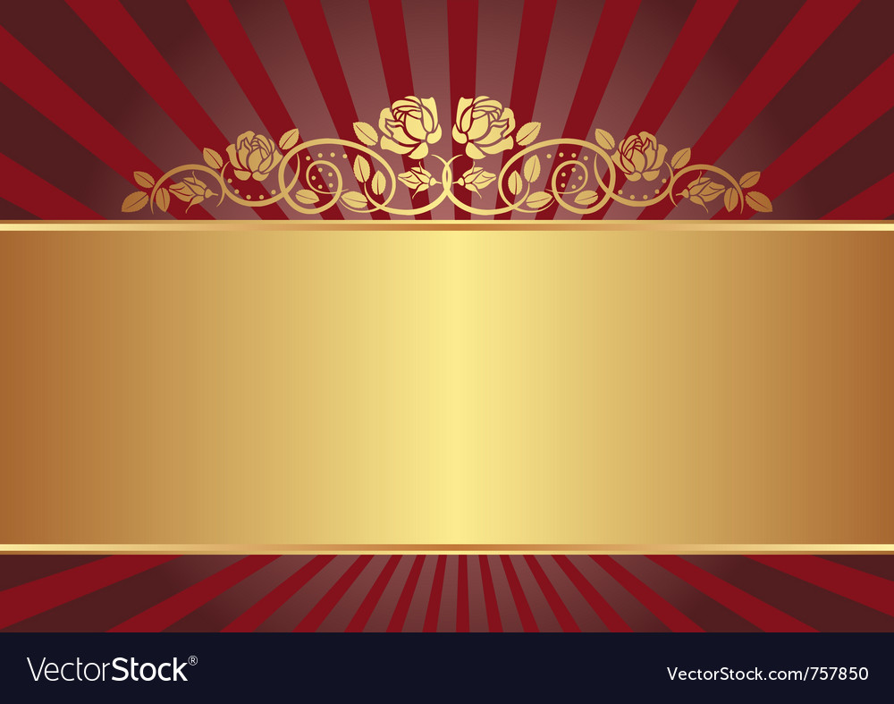 Gold background with roses vector