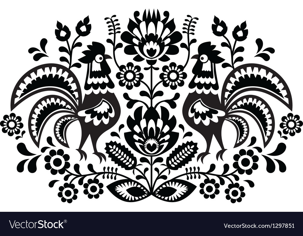 Polish floral embroidery with roosters vector