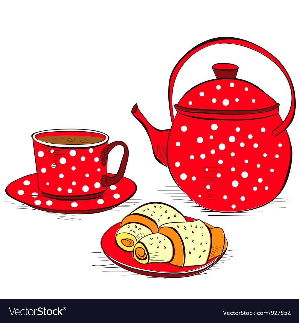 Cup of tea with buns vector