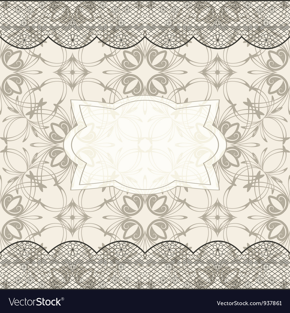 Background with seamless pattern lacy borders and vector