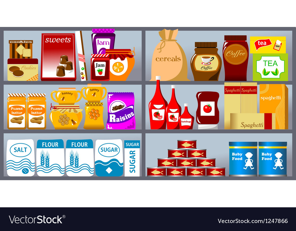 Collection of supermarket items vector
