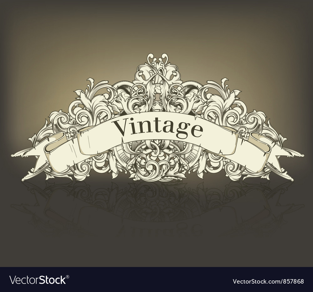 Free vintage floral with scroll vector