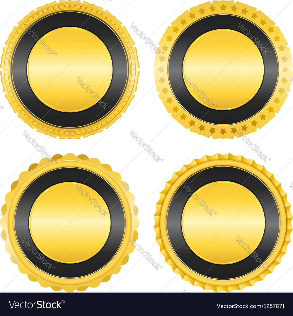Blank golden badges vector