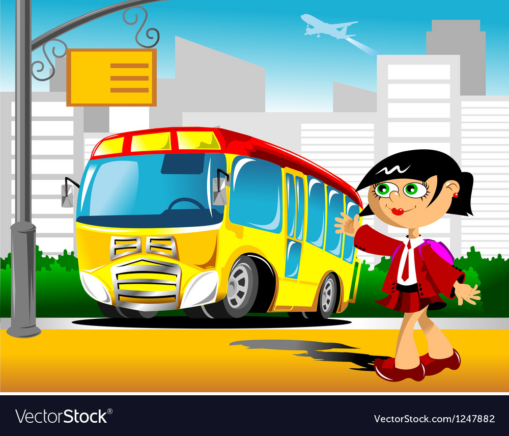 Girl at a bus stop vector