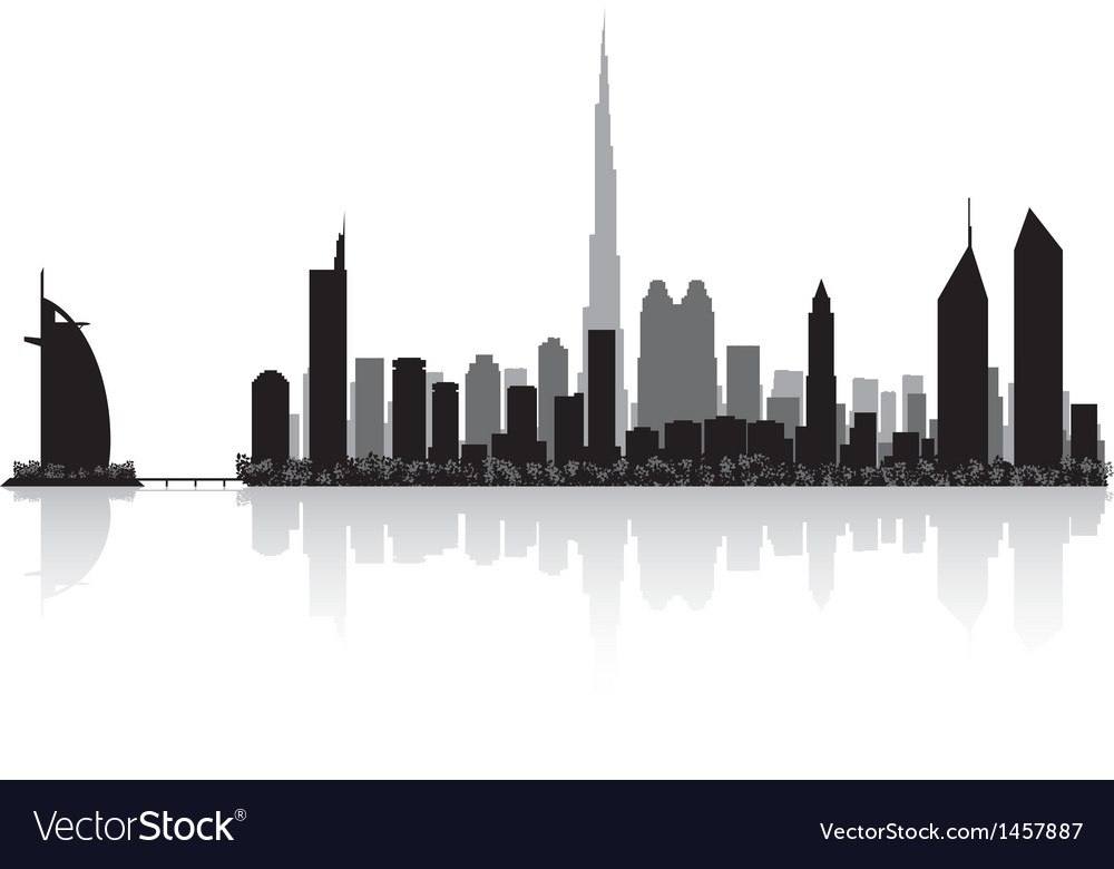 Dubai city skyline silhouette vector
