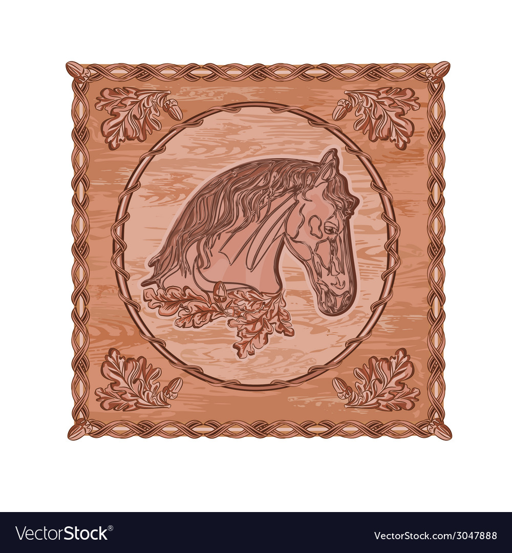 Horse and oak leaves and acorns woodcarving