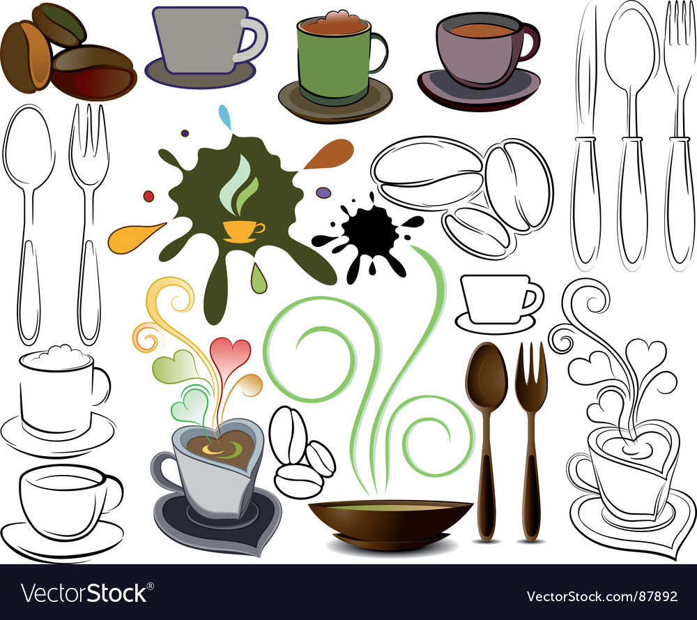 Cups and spoons logos vector