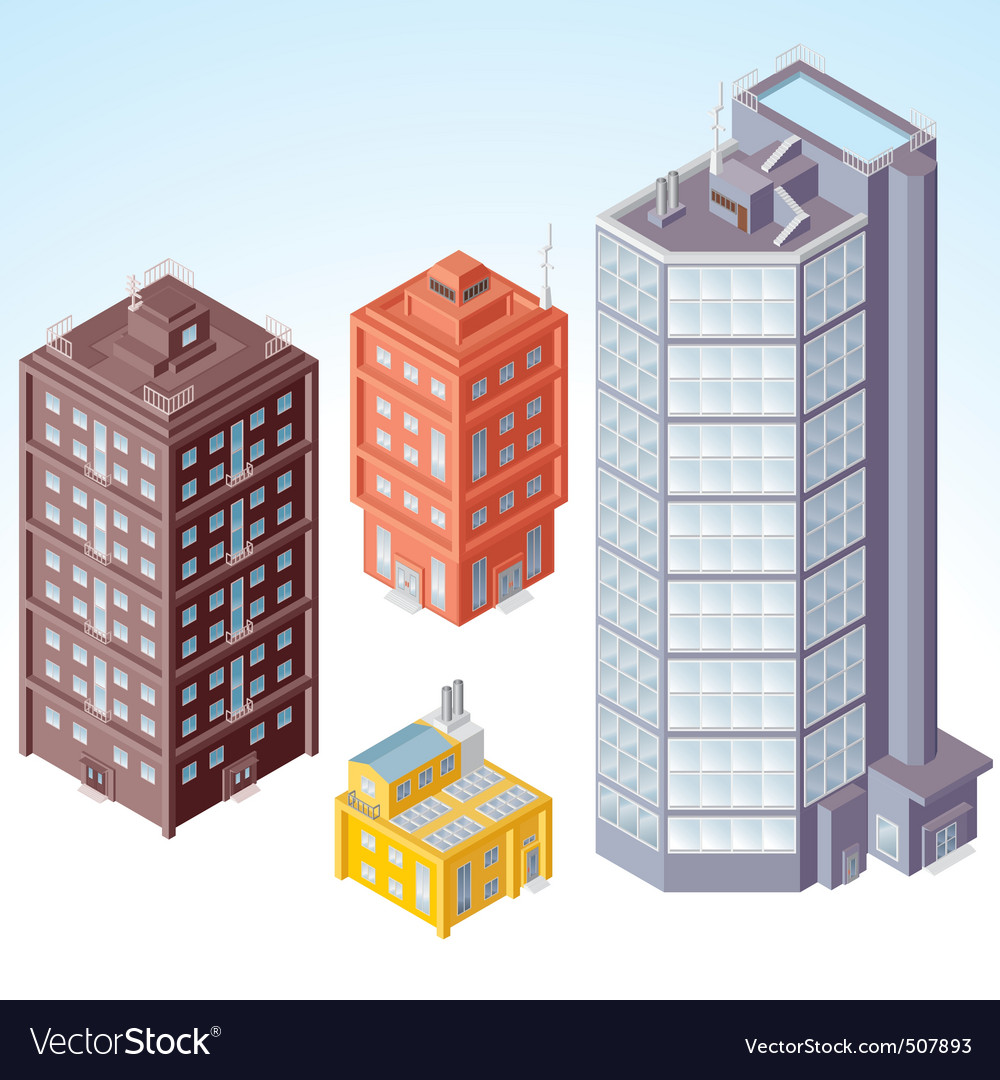 Isolated isometric buildings vector