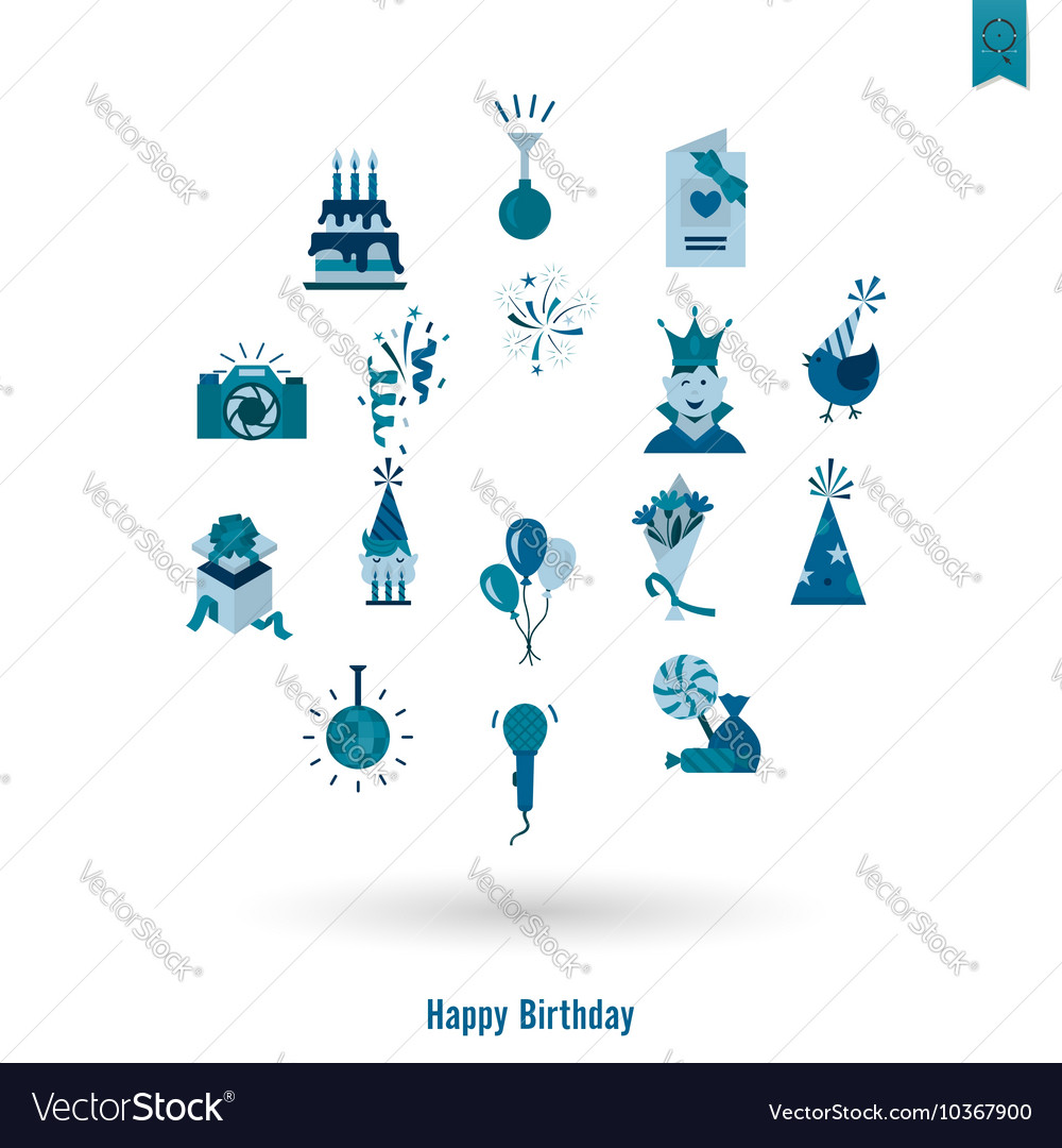 Happy birthday icons set vector by HelenStock - Image #10367900 ...: https://www.vectorstock.com/royalty-free-vector/happy-birthday...