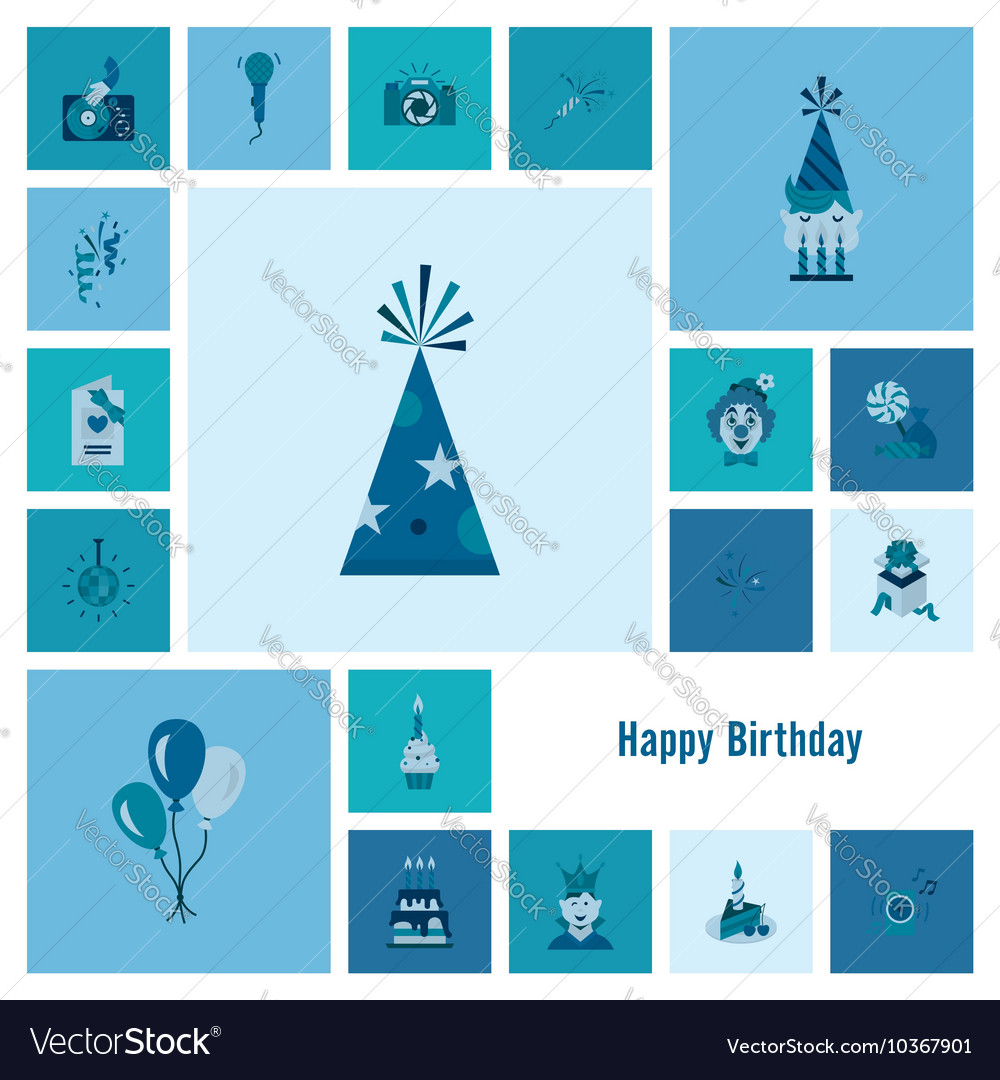Happy birthday icons set vector by HelenStock - Image #10367901 ...: https://www.vectorstock.com/royalty-free-vector/happy-birthday...