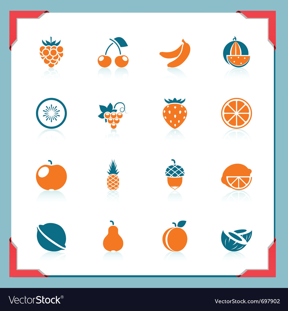 Fruits icons  in a frame series vector