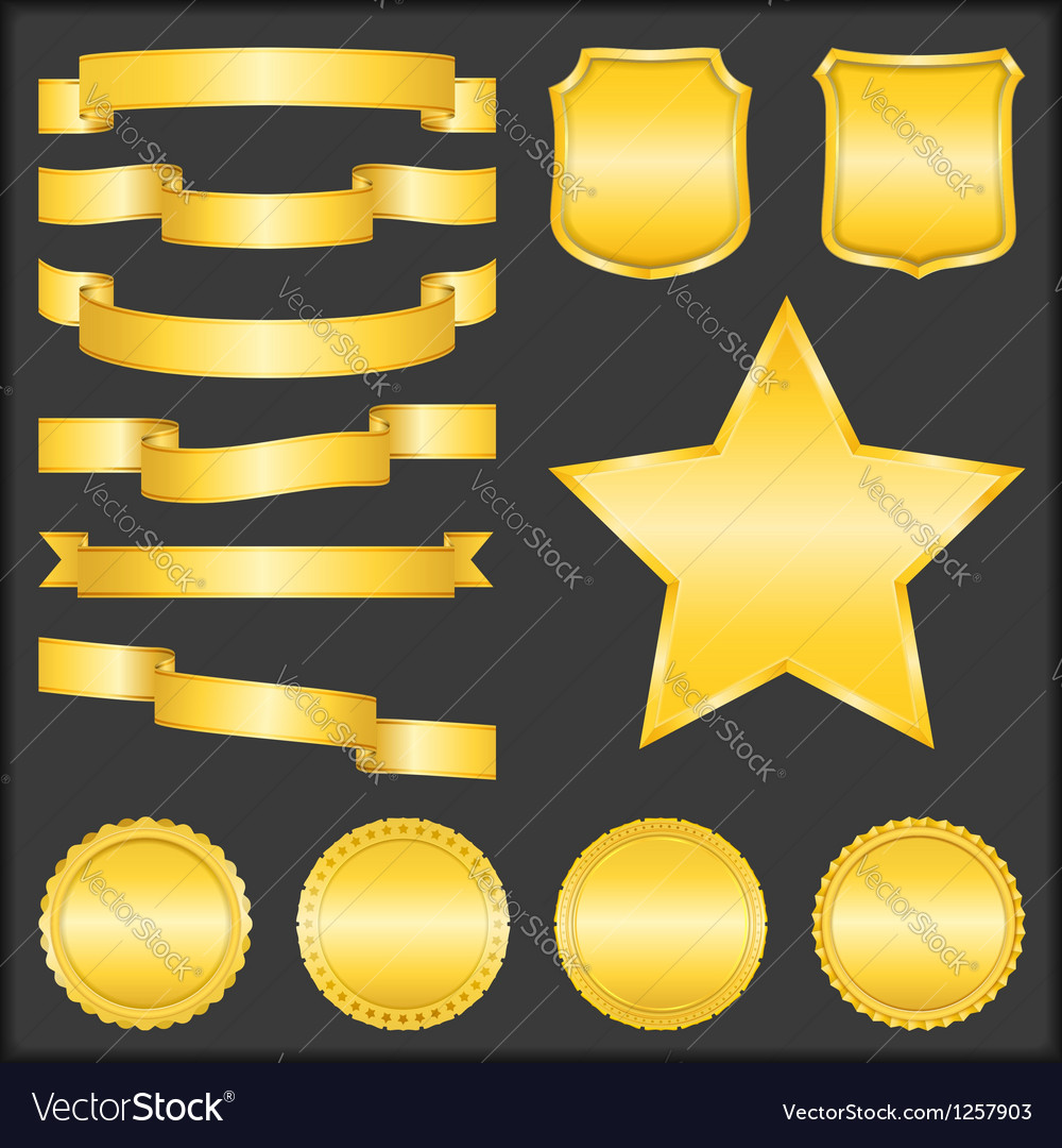 Golden ribbons shields stars and badges vector